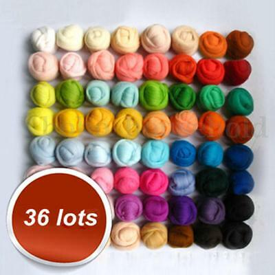 Set of 36 Color Spinning Sewing Trimming Wool Fibre Roving Needle Felting