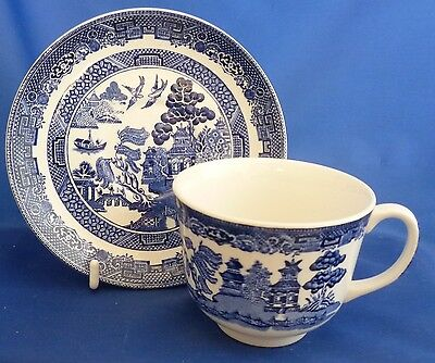 A Johnson Brothers 'willow' Blue Tea Cup And Saucer