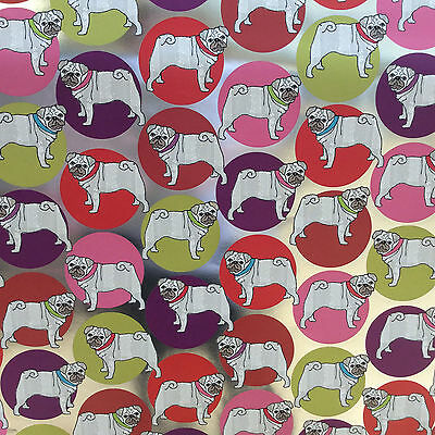 Pug Foiled Wrapping Paper Luxury Gift Wrap Gorgeous Quality Dog Lover Cute