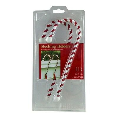 Pack of 2 Candy Cane Christmas Stocking Holders - Hangers Hooks Mantle