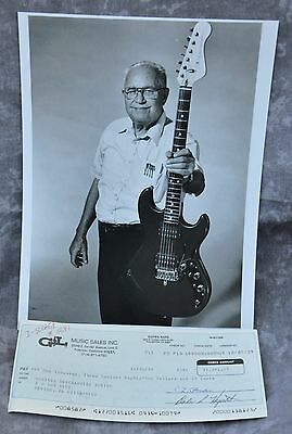 Leo Fender Signed 1989 G&L Music Sales Business Check & B&W HP Photograph
