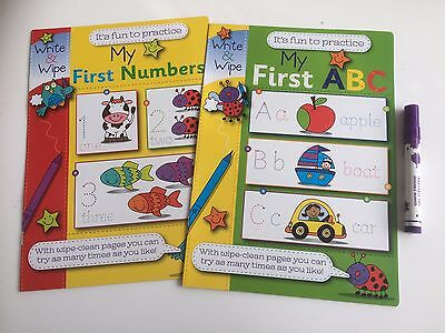 2 x Write & Wipe Clean Books My First ABC & First Numbers & Pen Pre School 3+