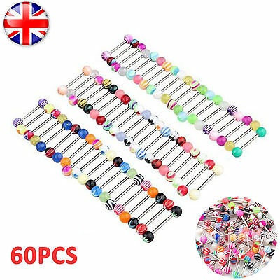 60pc Tongue Bars Surgical Steel Barbell Rings Mixed Ball Body Piercing Jewellery