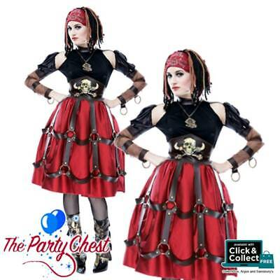 LADIES STEAMPUNK PIRATE WENCH HALLOWEEN COSTUME Pirate Fancy Dress Outfit 789013