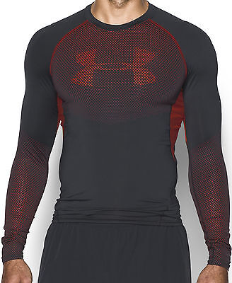 Under Armour HeatGear Armour Printed Long Sleeve Mens Compression Top - Black