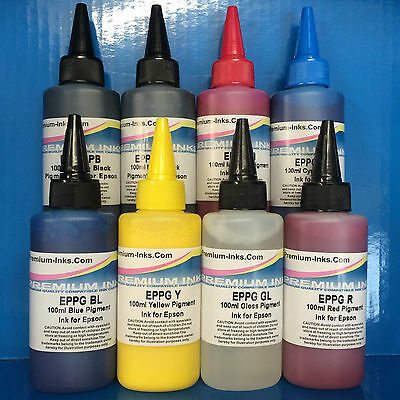 800ml PIGMENT PRINTER INK REFILL BOTTLES FITS EPSON STYLUS PHOTO R800 R1800 1800
