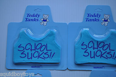 - lot of 7 TEDDY TANKS SHIRTS mint on card (MOC) Applause -School Sucks/Hawaii-