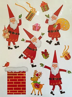 22 Santa Window Clings Stickers Reindeer Glass Christmas Decorations Father Xmas