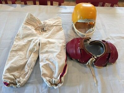 Vintage Youth Hutch Football Helmet, Empire Football pants, and Shoulder Pads
