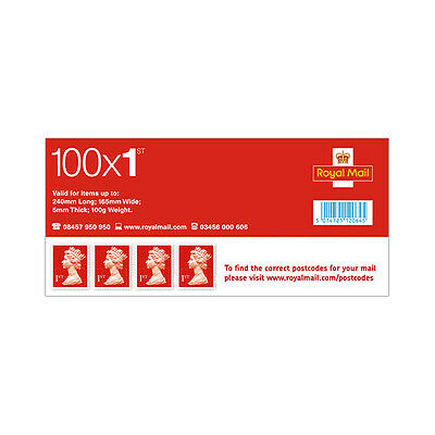BRAND NEW- Sheet of 100 x 1st First Class Red Stamps Self Adhesive Unused FV £64