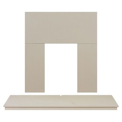 Adam Fireplace Back Panel and Hearth Set in Cream, 48 Inch