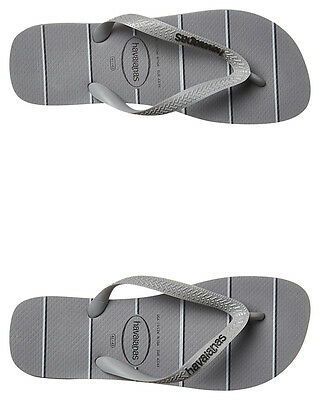 New Havaianas Men's Top Prints Stripes Thong Steel Mens Shoes Grey