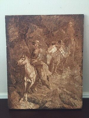Vintage Remington Western Cowboy Large Ceramic Hand Crafted Tile Art
