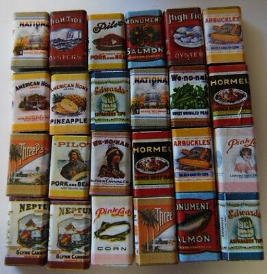 Dollhouse Miniature 1:12 Scale Boxes of Food w/Old Fashioned Labels, Pkg of 24