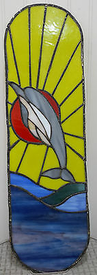 "Handmade Stained Glass Dolphin Scene 24""x7"" Nautical Decor Window Ocean Sun"