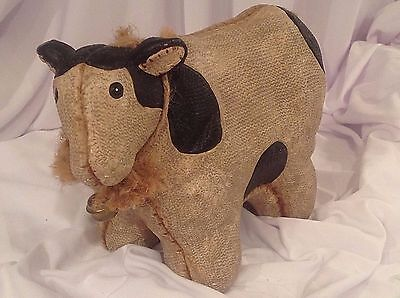 Country Cow Figurine Primitive Rustic Patchwork Pottery Figure Home Garden Decor