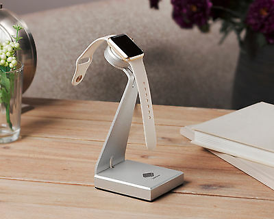 Solid Base Aluminum Stand Dock Station Charger Holder for Apple Watch (Silver)