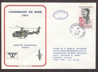 France 1972  Gazelle  Helicopter Cover Marignane To Farnborough Air Show
