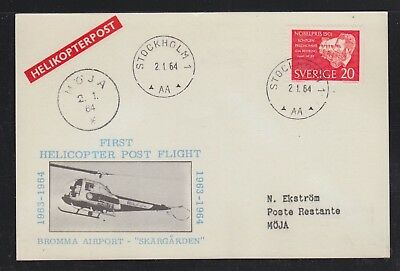 Sweden 1964 Bromma Airport First Helicopter Flight Postcard Stockholm To Moja