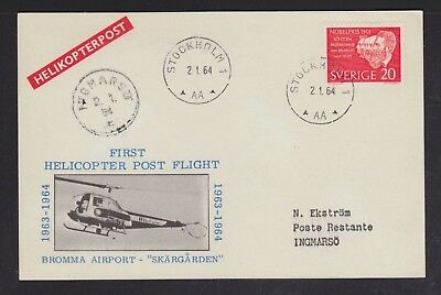 Sweden 1964 Two Bromma Airport Helicopter Flight Postcards Stockholm & Ingmarso