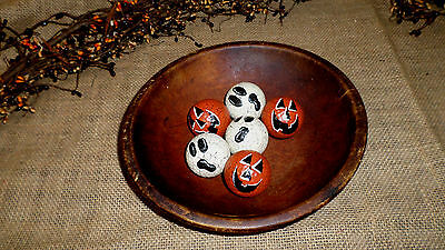 Primitive Crackle Pumpkin Ghost Golf Balls Ball Bowl Fillers Country Home Decor