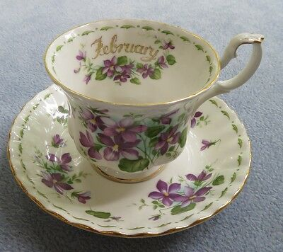Royal Albert Flower of the Month Cup and Saucer Set February Violets ENGLAND