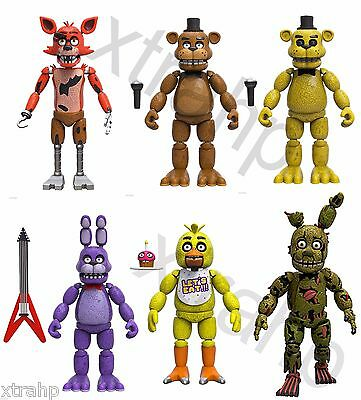 """New Set Of 6 Five Nights At Freddy's 5"""" Figure Foxy, Bonnie, Chica, Spring Trap"""