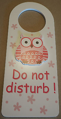 Wooden Owl Do Not Disturb Door Hanger Sign Nursery Baby Sleeping - GIRL PINK