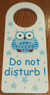 Wooden Owl Do Not Disturb Door Hanger Sign Nursery Baby Sleeping - BOY BLUE