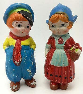 Vintage Bisque Frozen Charlotte Penny Doll Dutch Boy and Girl Made in Japan