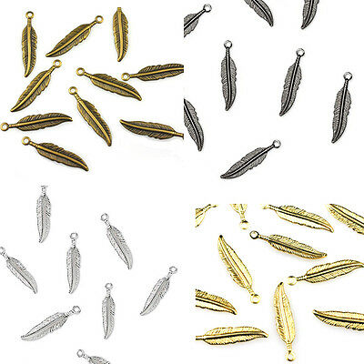 25 Plated Feather Charm Dangle Beads Gold / Silver / Gunmetal Or Antique Copper