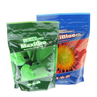 General Hydroponics (Maxigro + MaxiBloom) - 2 x 1KG | Powder Nutrient | Grow Flo