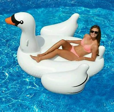 Jumbo Deluxe Swan Pool Lounge Inflatable Pool Toy  Ride On, Float Raft, Aquafun