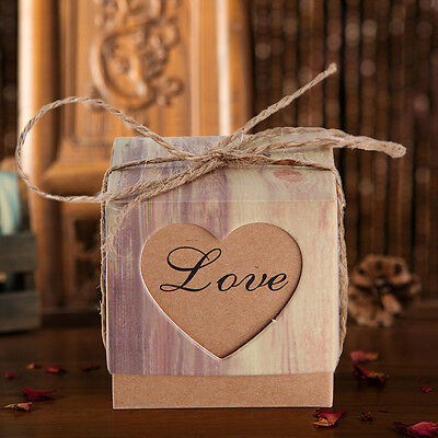 50PCS Luxury Wedding Party Heart Love Sweets Cake Candy Gift Favour Favor Boxes