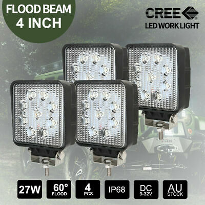 4pcs 27W CREE LED Work Lights FLOOD BAR 12V 24V Square Camping Lamps
