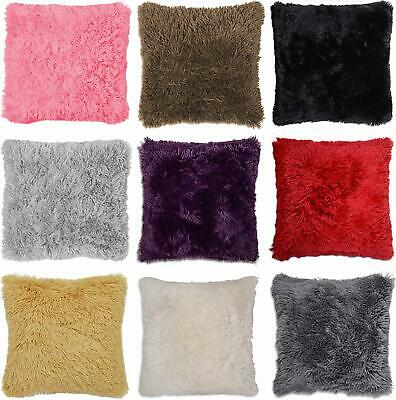 "Faux Fur Cushion Cover Super Soft and Cuddly Shaggy 17x17"" (43x43cm) Long Pile"