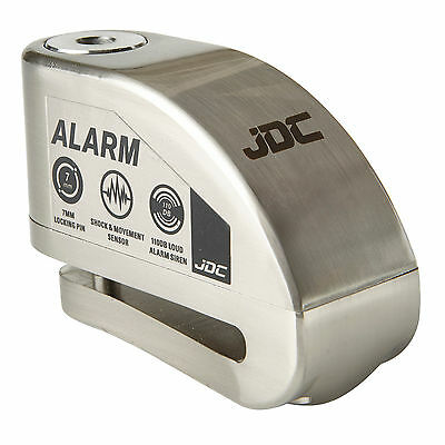 JDC MOTORCYCLE Motorbike Disc Lock ALARM - JAWS - Brushed Metal