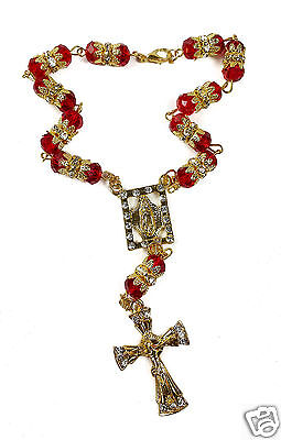 Red Crystal Zircon Beads Gold Color Beads Car Rearview Mirror Rosary (Jerusalem)