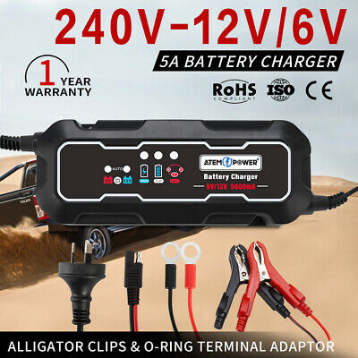 AGM Battery Charger Maintainer Car Motorbike 6V / 12V 5A Deep Cycle SLA MF