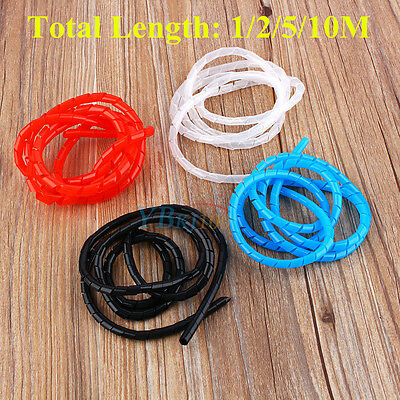 1/2/5/10M 6mm Spiral Cable Wrap Tube Tidy Wire Organizing Sleeve HOME OFFICE New