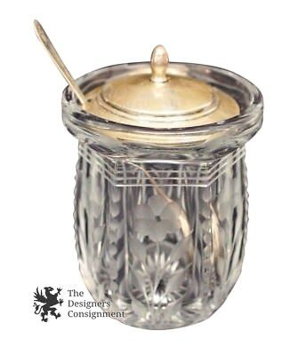 Sterling Silver and Etched Crystal Sugar Condiments Serving Container 3""