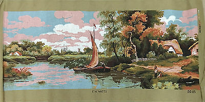 Vintage Tapestry Canvas - F. W. WATTS - SAILBOAT