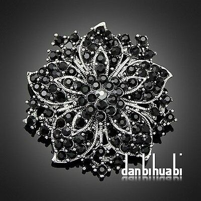 7 colors'  Vintage Style Black Rhinestone Crystal Diamante Party Brooch pins for