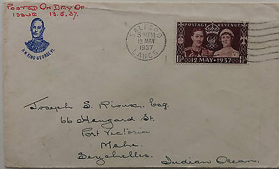 Great Britain 1937 Coronation First Day Cover Used From Salford To Seychelles