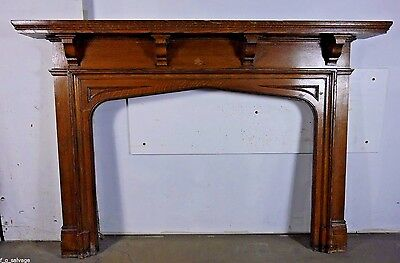 Antique Vintage Oak Fireplace Mantel Early 1900's Knox Hall Columbia U.
