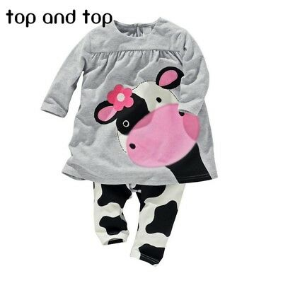 baby girl clothes casual long-sleeved T-shirt+Pants suit Tracksuit the cow suit