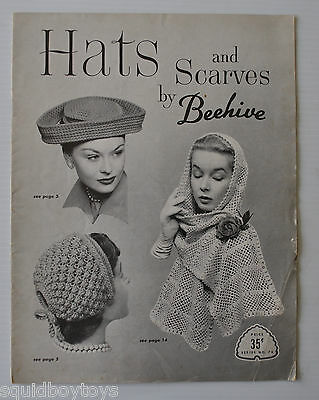 - HATS AND SCARVES by BEEHIVE KNITTING  CATALOG/BOOKLET 1950s -