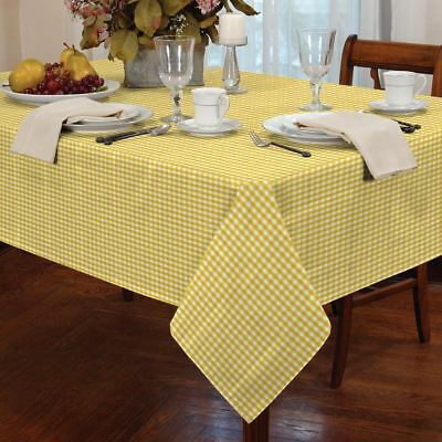 "Gingham Check Yellow White Square 54X54"" 137X137Cm Table Cloth"