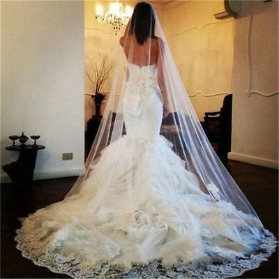 New Chapel/Cathedral Length 1 Layer Lace Edge Wedding Bridal Veil with Comb