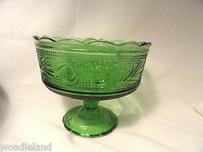 Forest Green Heritage Compote Bowl Mid-Century Modern Footed